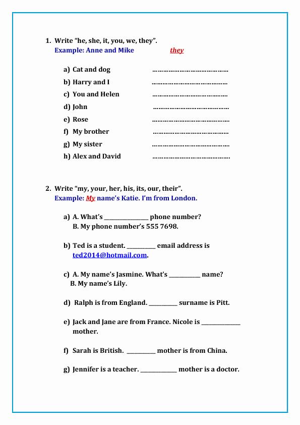 Possessive Pronouns Worksheet 2nd Grade 119 Free Possessive Pronouns Worksheets Teach Possessive