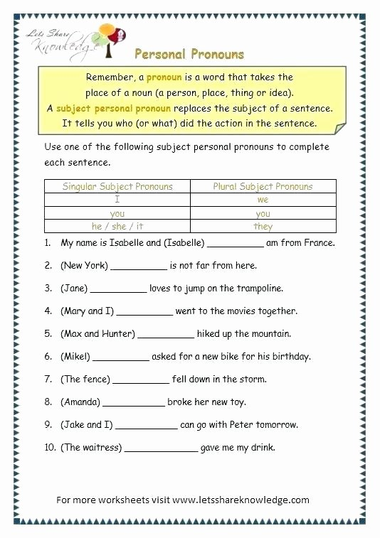 Possessive Pronouns Worksheet 3rd Grade Personal and Possessive Pronouns Worksheets – Openlayers