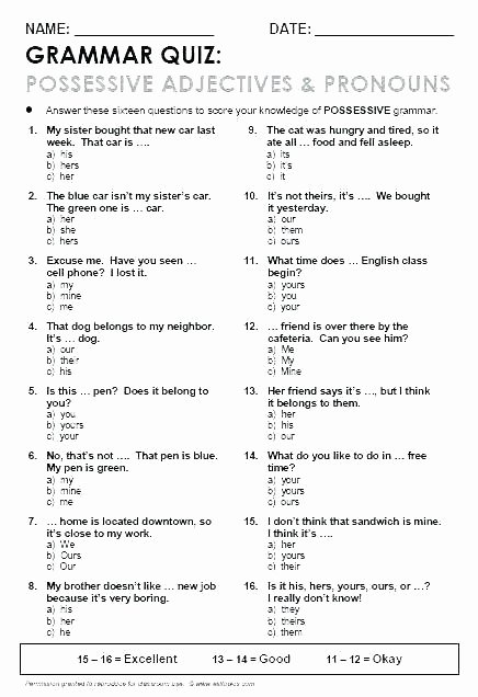 Possessive Pronouns Worksheet 3rd Grade Pronoun Worksheets