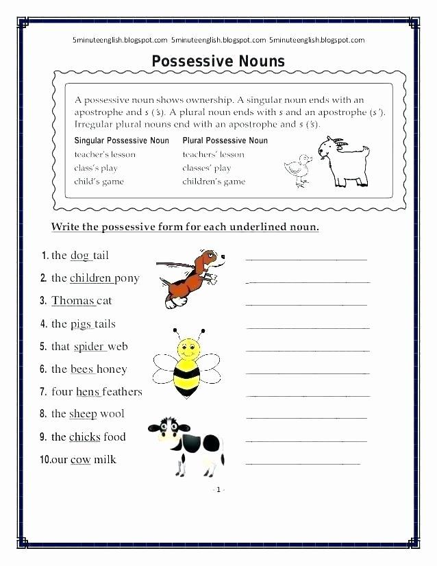 Possessive Pronouns Worksheet 5th Grade Possessive Nouns Worksheets 5th Grade – butterbeebetty