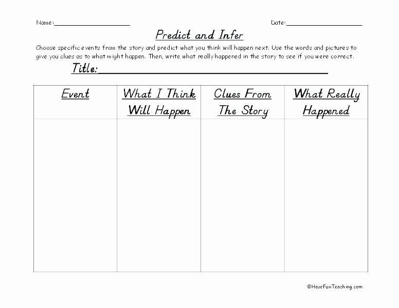 Prediction Worksheets 2nd Grade 3 Free Making Predictions Worksheets Predicting Out Es