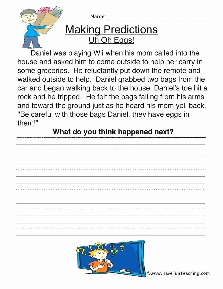 Prediction Worksheets 2nd Grade Grade Worksheets Printable for Graders Free Excel 1 Reading