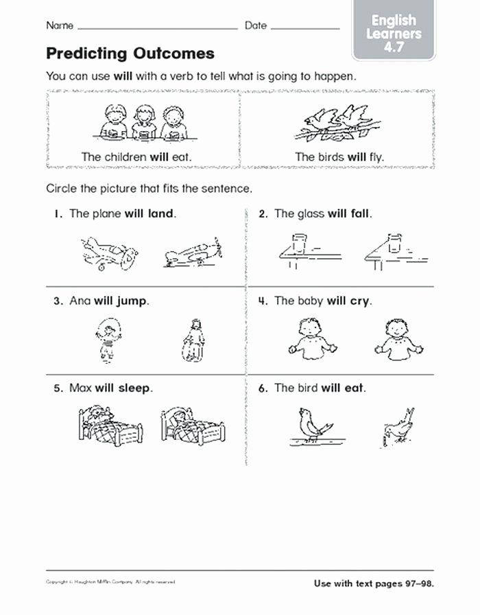 Prediction Worksheets for 2nd Grade Prediction Worksheets for First Grade Living Nonliving Cc