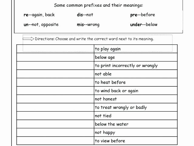 Prefix Suffix Worksheets 3rd Grade Prefixes Worksheets Prefixes 1 Negative Prefixes Worksheet