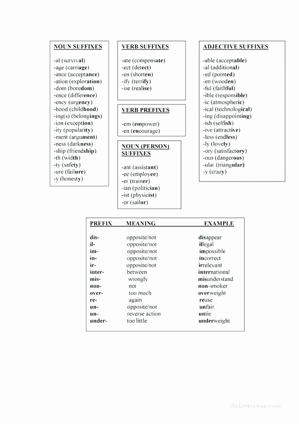 Prefixes and Suffixes Worksheets Pdf Prefix and Suffix Worksheets High School