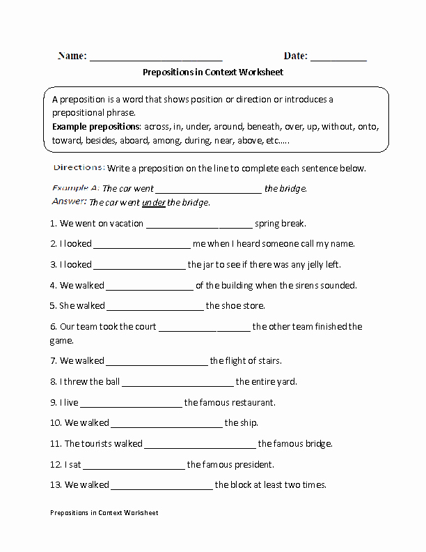 Preposition Worksheets for Grade 1 Englishlinx