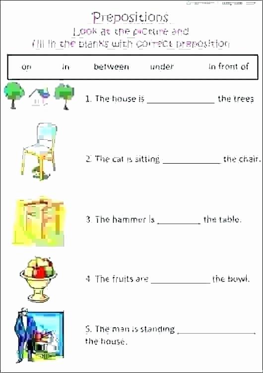 Preposition Worksheets for Grade 1 Preposition Worksheet Add the Prepositions Preposition