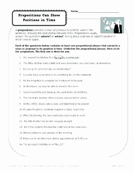 Preposition Worksheets for Grade 1 Prepositions Worksheets for Grade 1 and 2 3 with Answers
