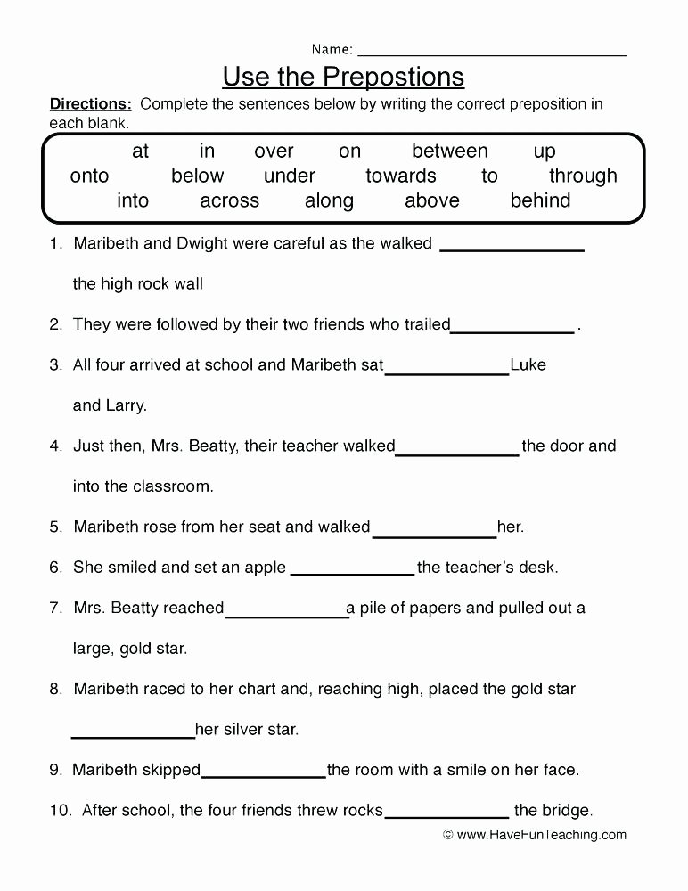 Preposition Worksheets for Grade 1 Using Prepositions Exercises S T A N L E Y Preposition