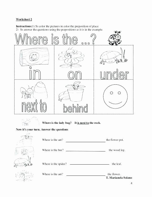 Preposition Worksheets for Grade 1 Worksheet Preposition Place Grade 1 Prepositions