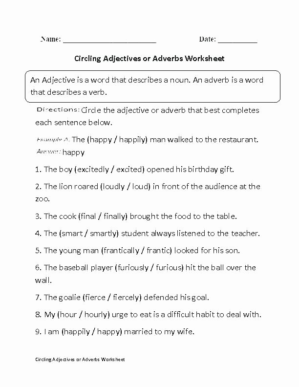 Preposition Worksheets Middle School Adjectives and Adverbs Worksheets Adjective Adverb Worksheet