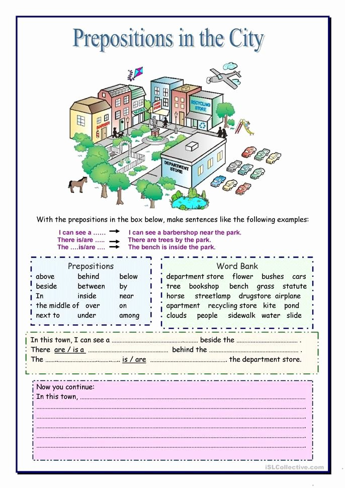 Preposition Worksheets Middle School Prepositions In the City Learn English