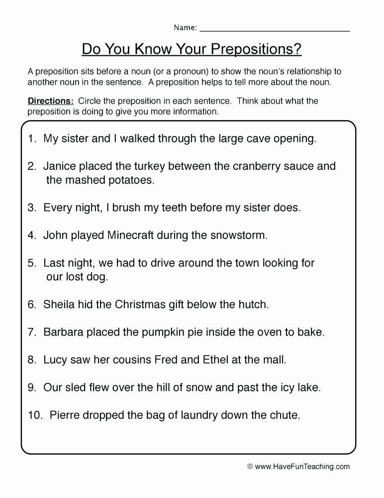 Preposition Worksheets Middle School Resources Prepositions Worksheets Prepositions Worksheet