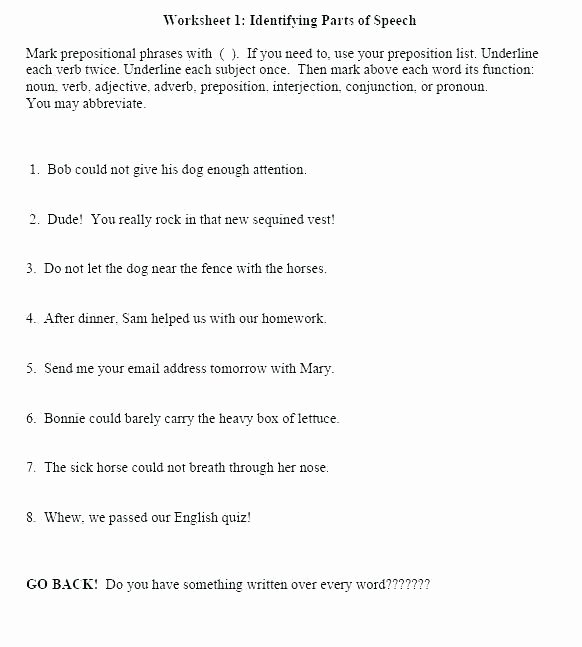 Prepositional Phrase Worksheet 4th Grade Preposition Worksheets High School