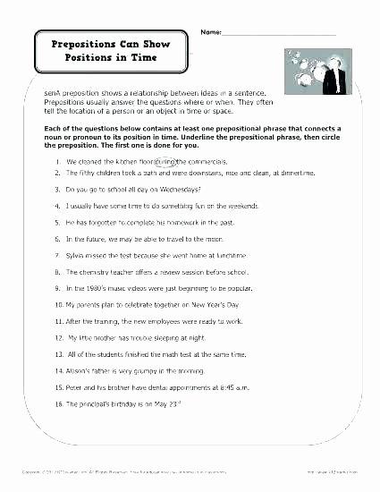 Prepositional Phrase Worksheet 4th Grade Preposition Worksheets Pdf