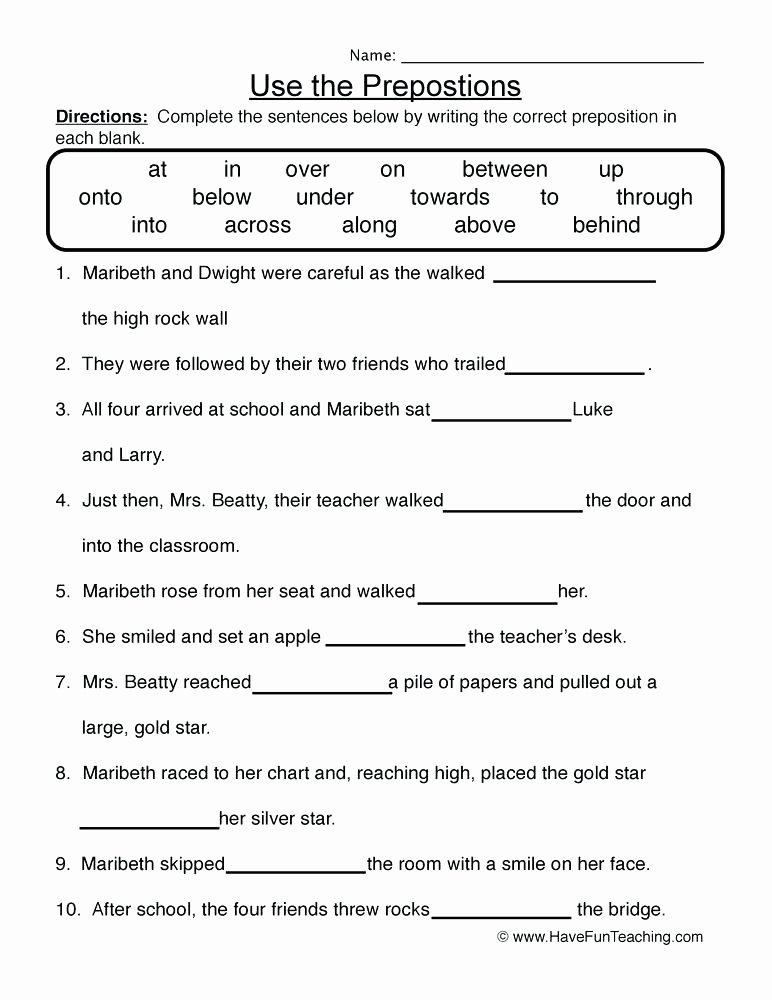 Prepositional Phrases Worksheet 6th Grade Grade Grammar Worksheets Nouns Preposition Prepositional