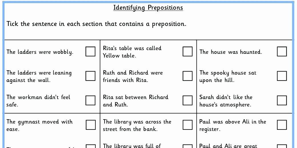 Prepositional Phrases Worksheet 6th Grade Preposition Worksheets Pdf
