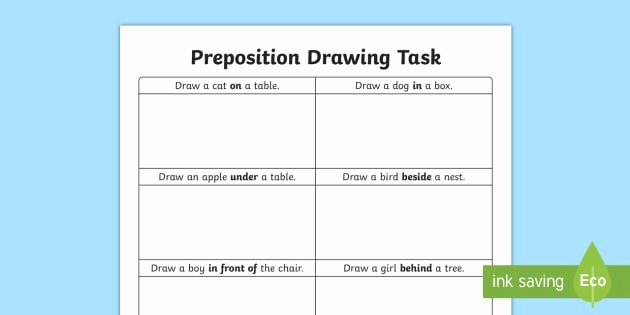 Prepositions Worksheets Middle School Preposition Drawing Task Worksheet Worksheet Preposition