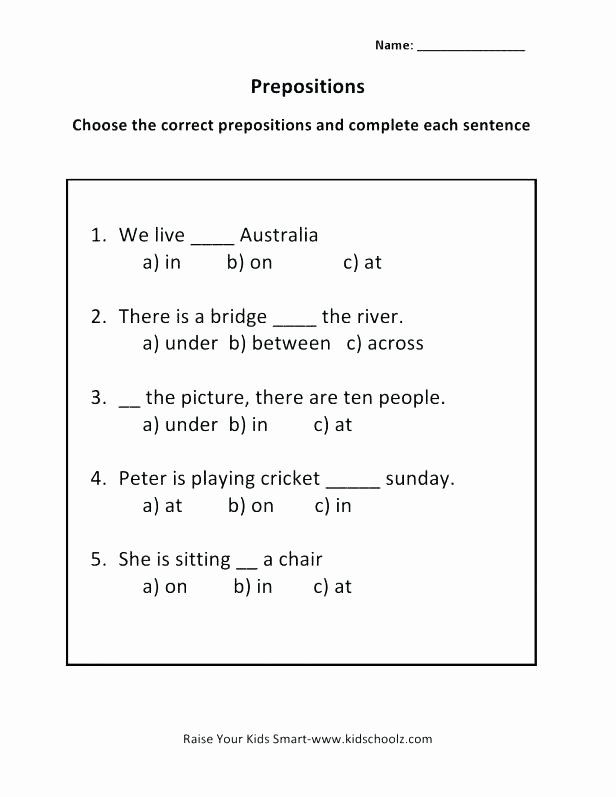 Prepositions Worksheets Middle School Preposition Printable Worksheets Fourth Grade Prepositional