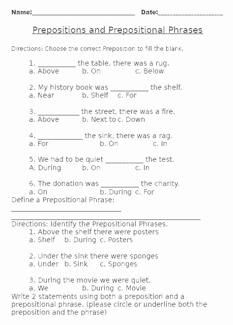 Prepositions Worksheets Middle School Prepositional Phrases Worksheets – Primalvape