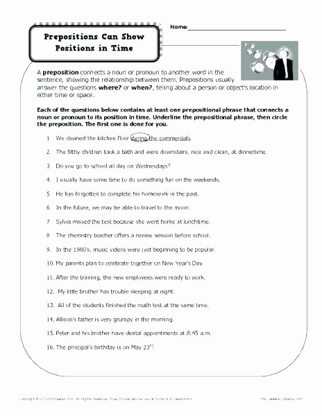 Prepositions Worksheets Middle School Worksheets Prepositions Worksheet Example Using Fifth