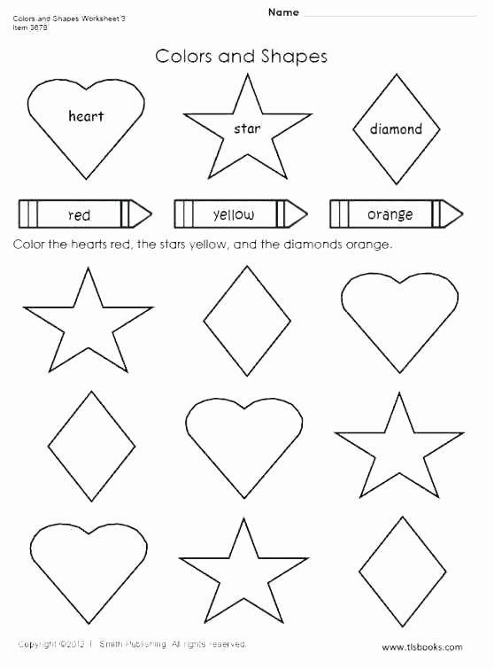 Preschool Diamond Shape Worksheets Color the Shapes Worksheet