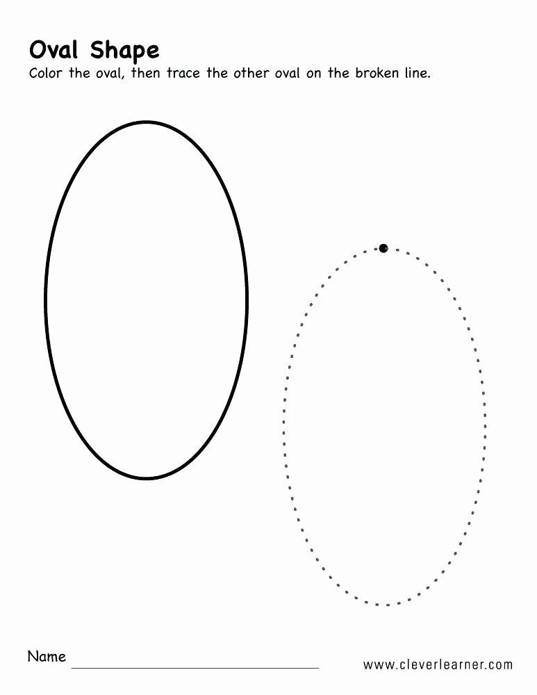 Preschool Diamond Shape Worksheets Printable Oval Shape Oval Shape Trace and Color Worksheet