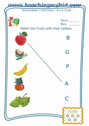 Preschool Fruits and Vegetables Worksheets 3 Letter Fruits