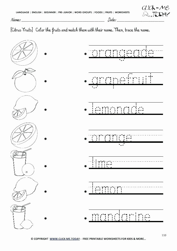 Preschool Fruits and Vegetables Worksheets Color My Name Printable – Yggs