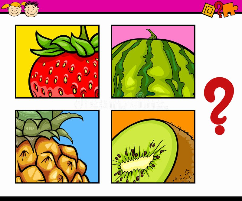 Preschool Fruits and Vegetables Worksheets Educational Puzzle Task for Children Stock Vector