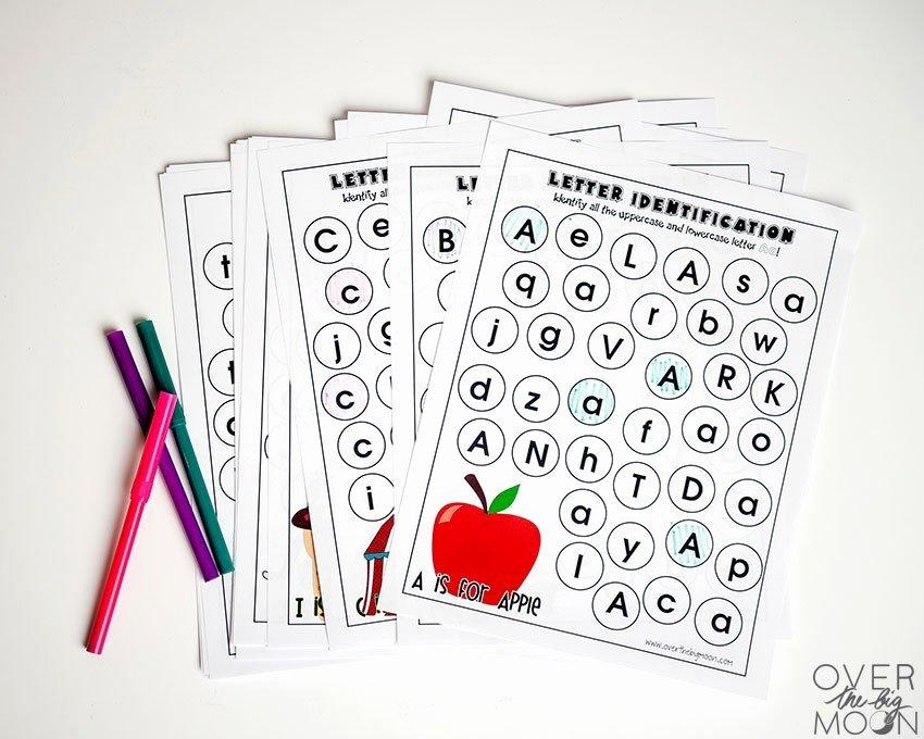 Preschool Fruits and Vegetables Worksheets Full Alphabet Letter Identification Printables