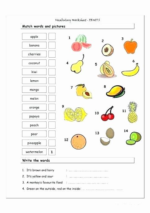 Preschool Fruits and Vegetables Worksheets Kindergarten Language Arts Worksheets Development for Free