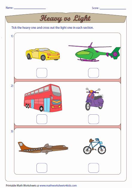 Preschool Opposite Worksheet Heavy Vs Light Vehicle theme