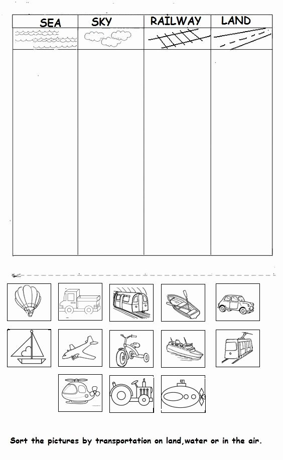 Preschool Opposite Worksheet Vehicle Worksheet for Kids
