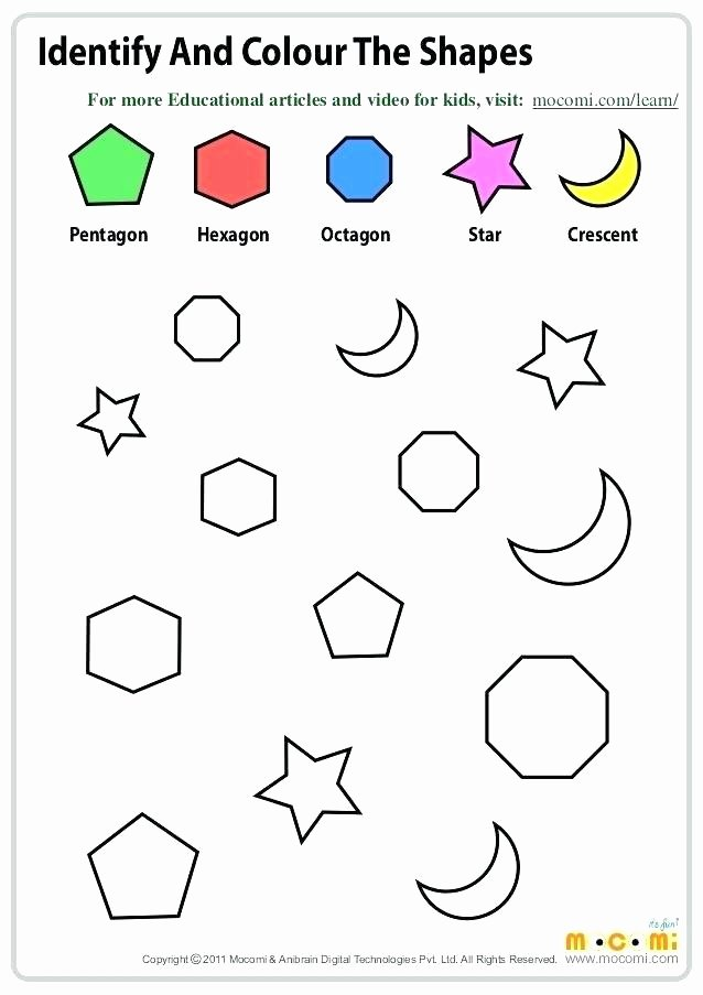Preschool Opposites Worksheets Identify and Colour the Shapes Maths Worksheets for Kids