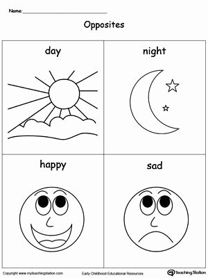 Preschool Opposites Worksheets Opposites Flashcards Day Night Happy Sad