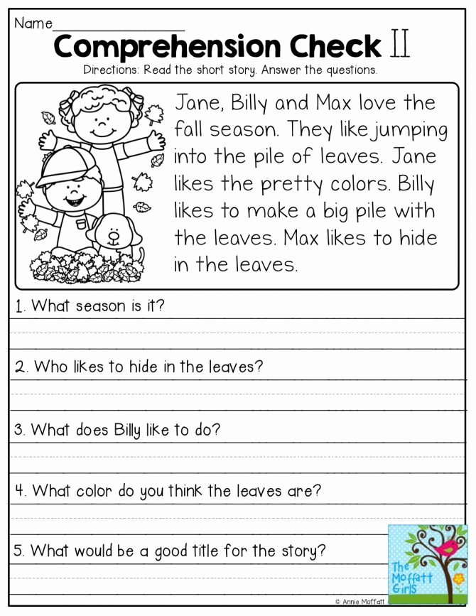 Preschool Reading Comprehension Worksheets Free Printable Reading Prehension Worksheets for Kinde