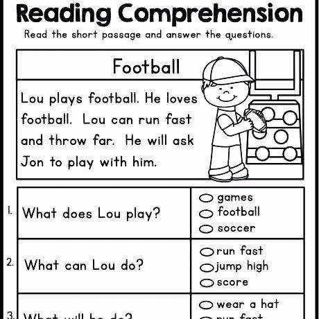 Preschool Reading Comprehension Worksheets K Reading Worksheets