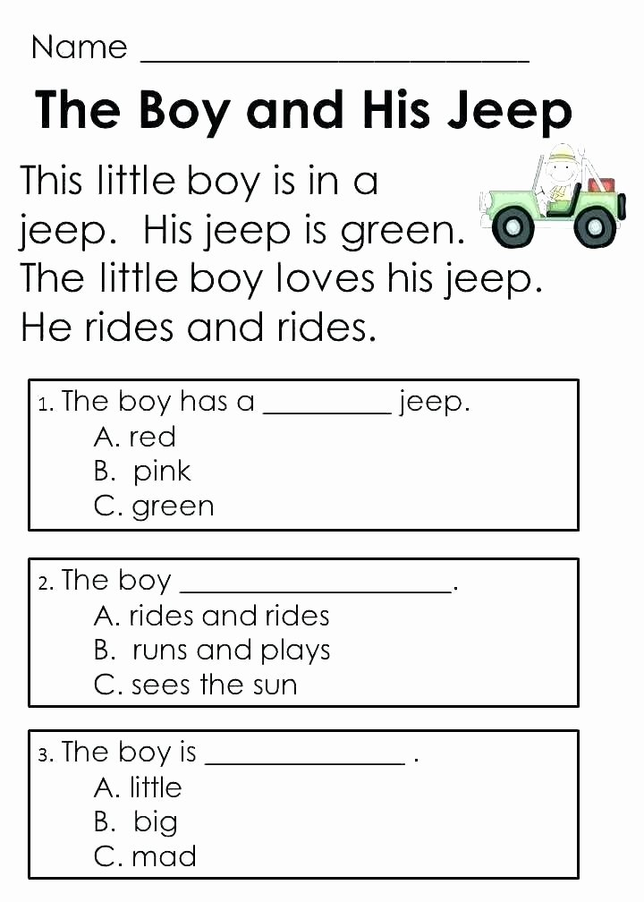 Preschool Reading Comprehension Worksheets Learning to Read Worksheets