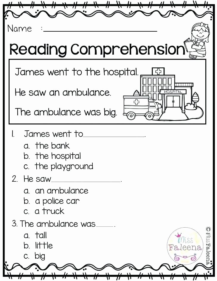 Preschool Reading Comprehension Worksheets Listening Prehension Worksheets Grade 1 First for Free Pdf