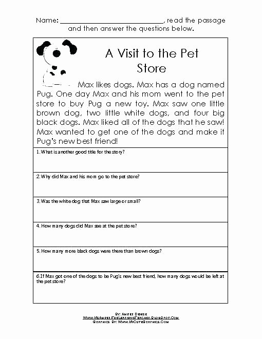 Preschool Reading Comprehension Worksheets Printable English Prehension Worksheets Free for Grade 2
