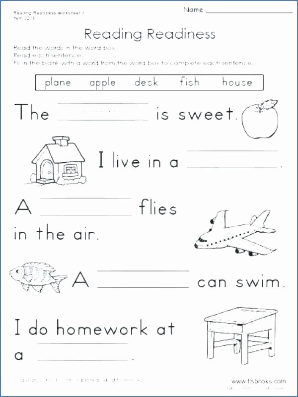 Preschool Reading Comprehension Worksheets Reading Prehension for Kinder Worksheets Grade 6