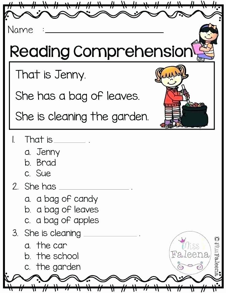 Preschool Reading Comprehension Worksheets Reading Prehension Worksheets Grade 1 for Kindergarten