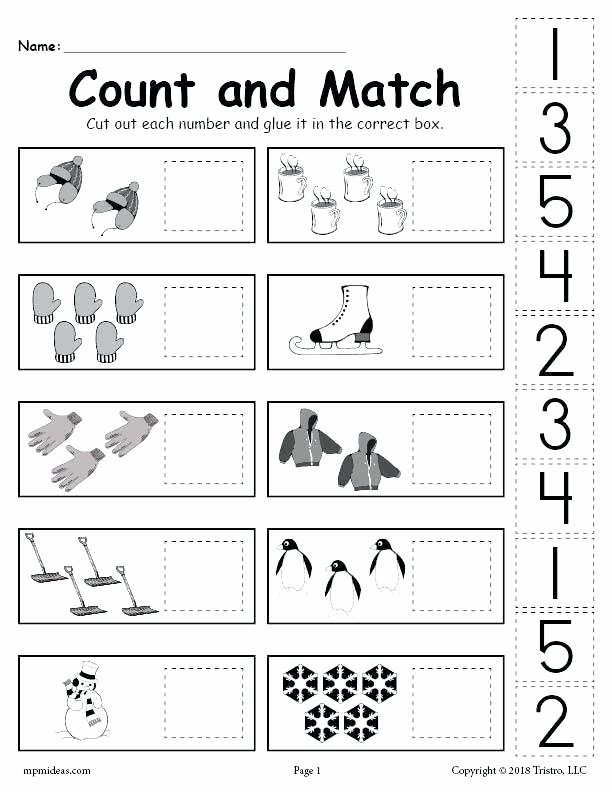 Preschool Sequencing Worksheets Free Printable Winter Counting and Matching Cut Paste