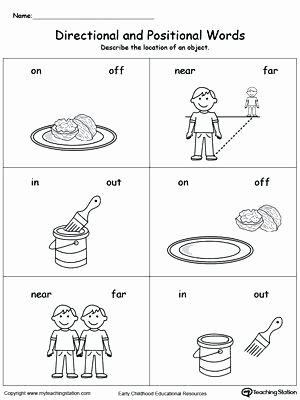 Preschool Sequencing Worksheets Position Worksheets Preschool Position and Direction