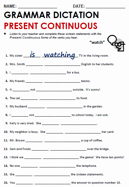 Present Progressive Spanish Worksheet Answers Beautiful Present Continuous All Things Grammar