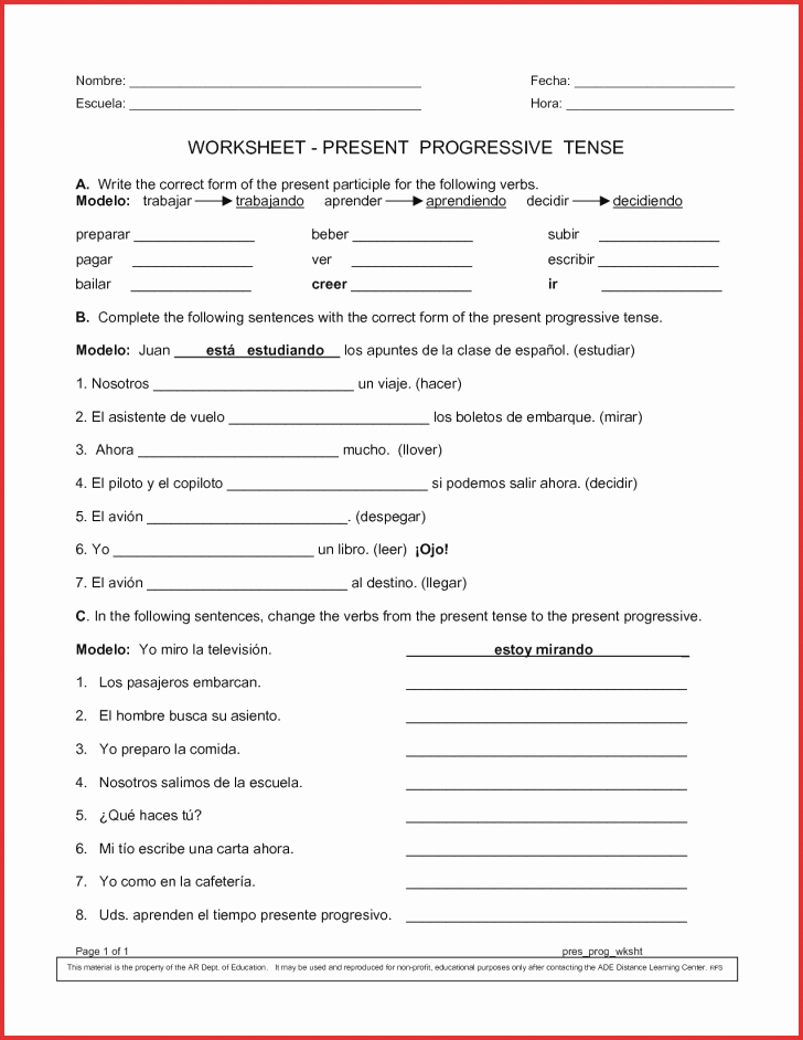 Present Progressive Spanish Worksheet Answers New Worksheet Ideas Stunning Spanishets Inspirationset
