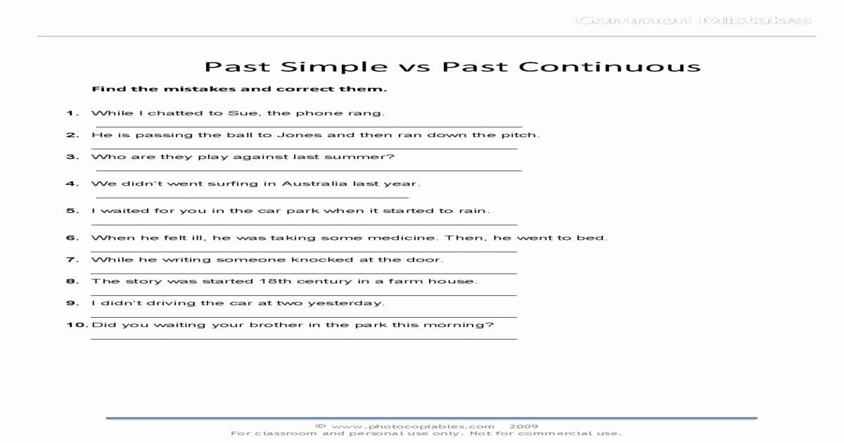 Present Progressive Spanish Worksheets Past Simple Vs Past Continuous Mon Mistakes Free Esl