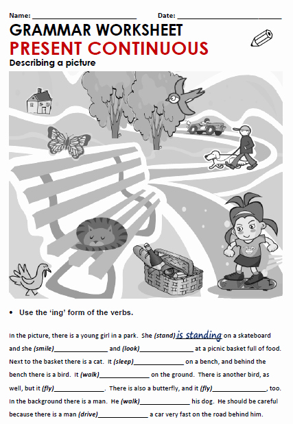 Present Progressive Spanish Worksheets Present Continuous All Things Grammar