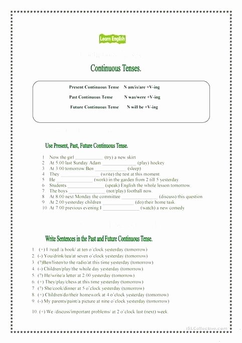 present past and future continuous tenses grammar guides 1 tense practice worksheets spanish